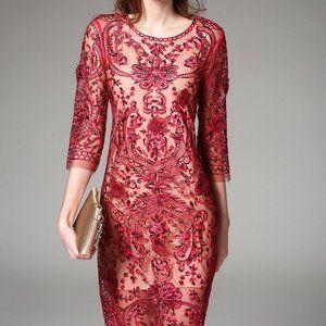 NEXIIA 3/4 Sleeve Sheath Floral Casual Dress Red M